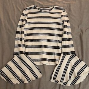 Zara striped bell sleeve sweater